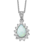 1.25 ct tw opal pendant in platinum plated sterling silver