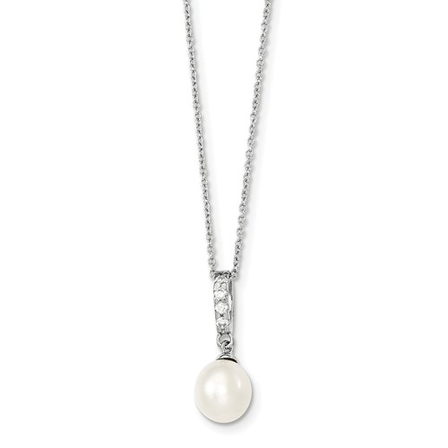 Diamond Essence Round Brilliant Melee and Fresh Water Cultured Pearl Pendant, 0.75 Ct.T.W. in Platinum Plated Sterling Silver. Chain Included.