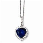 Platinum Plated Sterling Silver Diamond Essence Pendant With Sapphire Essence Heart In Center Surrounded By Round Brilliant Melee And Melee On The Bail To Enhance The Beauty!!