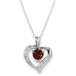 Diamond Essence Sterling Silver Rhodium Plated Heart Garnet Pendant, 0.70 Cts.T.W.