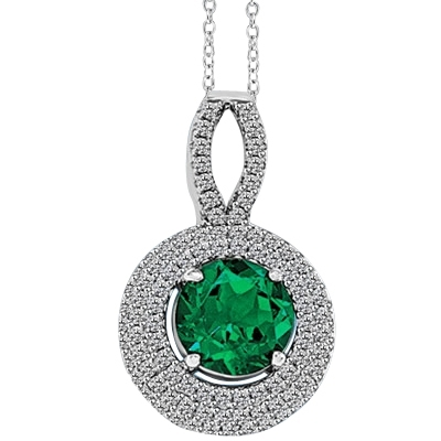 Diamond Essence Pendant with Chain, 2.0 Cts. Round cut Emerald Essence set in center surrounded by sparkling Melee, 3.5 Cts. T.W. set in Platinum Plated Sterling Silver.