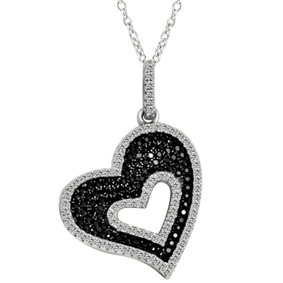 "Heart in Heart - Beautiful Heart Pendant with Ember Essence and Diamond Essence Melee, 2.0 Cts. T.W. set in Platunum Plated Sterling Silver. 18"" long Chain Included."