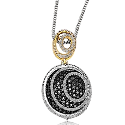 "Oval shaped Designer Pendant with Round, Chocolate Essnece and Diamond Essence Melee, 3.50 Cts. T.W. set in Two - Tone, 14k Gold Vermeil. 18"" long Chain included."