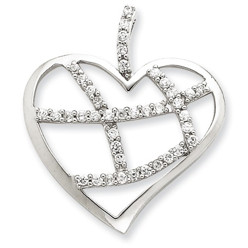 Diamond Essence Designer Heart Pendant with Crisscross design of Round Brilliant Melee in prong setting, 1.0 Ct.t.w. in Platinum Plated Sterling Silver.