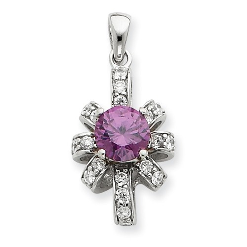 Diamond Essence Designer Pendant with 0.75 Ct. round Amethyst Essence center and Brilliant melee in artistic setting, 1.0 Ct.t.w.in Platinum Plated Sterling Silver.