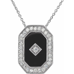 An extraordinary designer pendant with artificial onyx and round brilliant diamond by Diamond Essence set in platinum plated sterling silver 4.0 Cts.t.w.