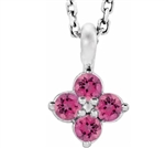 4 round stone  Silver flower pendant