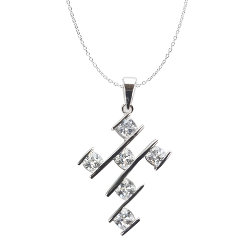 Diamond Essence Cross Pendant With Cushion Cut Stone In Bar Setting,3 Cts.T.W In Platinum Plated Sterling Silver.
