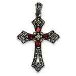 Sterling Silver Cross Pendant with Diamond Essence Marquise cut Red Stones & Marcasite.