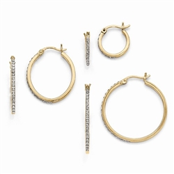 Diamond Essence Gold Plated Hoop Earrings with wire and clutch closing, set of  three. 0.30 cts.t.w.