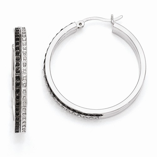 Diamond Essence, Platinum Plated Sterling Silver Black & White Diamond Hoop Earrings, 1.20 cts.t.w.