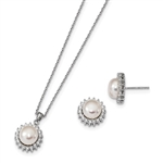 Diamond Essence Melee And Fresh Water Cultured pearl Earring Pendant set, 3.0 Cts.t.w. set in Platinum Plated Sterling Silver.