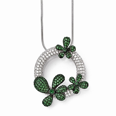 "Diamond Essence Designer Pendant, with Round Brilliant melee and Emerald Essence melee set in artistic floral pave setting. 18"" long chain with lobster clasp. 2.5 cts. t.w. in Platinum Plated Sterling Silver."