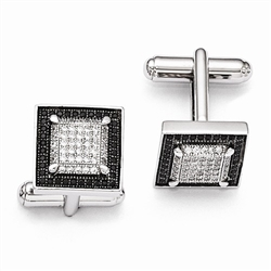 Diamond Essence Platinum Plated Sterling Silver Cuff links, 14MM X 14MM,  with Brilliant melee and outlined with Black Essence melee,set in Pave Setting, 2.50 cts.t.w.