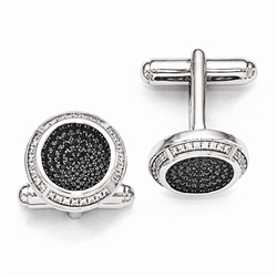 Diamond Essence Round Cuff Links, with Brilliant Essence and Black Essence melee set in Platinum Plated Sterling Silver, 2.50 cts.t.w.