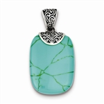 Diamond Essence Sterling Silver Antiqued Turquoise Pendant