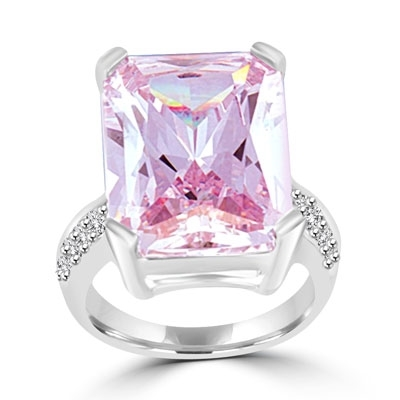 A stunning emerald-cut Lavender Essence stone floats in a raised four-prong setting, with melee on either side. 31.9 cts. t.w., in sterling silver.