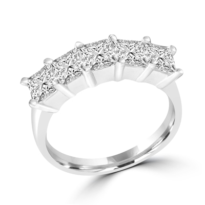 sterling silver band with 5 princess cut diamonds