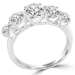round Diamond prong setting in sterling silver ring