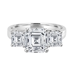 Three Stone Ring - 2.0 Carat Asscher Cut Diamond Essence Stone in the center and 0.5 carat Asscher  Cut Diamond Essence stones on each side.3.0 cts. t.w.