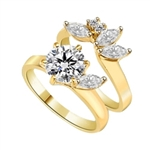 Diamond Essence Wedding set with 2.0 Cts. Round Brilliant in center and Marquise on band with melee, 3.0 Cts. T.W. set in 14k Gold Vermeil.