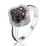 Diamond Essence Spade Ring With Round Brilliant Diamond Essence And Chocolate Essence Stones, 1.50 Cts.T.W. in Platinum Plated Sterling Silver.