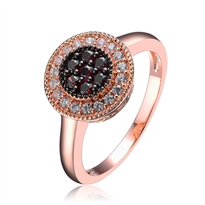 Diamond Essence Ring with Round Brilliant Diamond Essence And Chocolate Essence Stones, 1.50 Cts.T.W. in Rose Plated Sterling Silver.