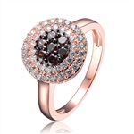 Diamond Essence Rose Plated Ring With Round Brilliant Diamond Essence And Chocolate Essence Stones, 1.70 Cts.T.W.