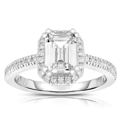 Diamond Essence Ring with Emerald cut Stone surrounded by Round Brilliant Melee, 2.50 cts.t.w. - SRC3051Z