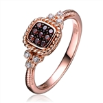 Diamond Essence Rose Plated Ring with Diamond And Chocolate stones, Approx 1 Ct.T.W.