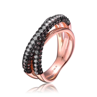 Rose Plated Sterling Silver Diamond Essence Designer Pave Ring With Round Brilliant Diamond Essence And Chocolate Essence Stones Set in Black Essence Prongs, 2.50 Cts.T.W.
