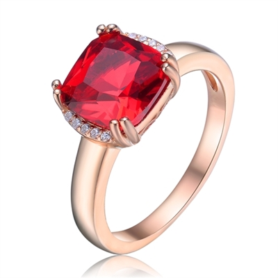 Diamond Essence Designer Ring with 2.5 carat Ruby Cushion Essence in 8 prongs setting and delicate melee set on two sides of cushion essence for additional beauty.