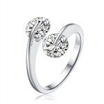 Diamond Essence Twist Ring With 1Ct. Each Round Brilliant Stones, 2.0 Cts.T.W. In Platinum Plated Sterling Silver.