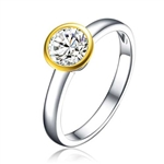 Diamond Essence Two Tone Solitaire Ring With 1 Ct. Round Brilliant Stone In Platinum Plated Sterling Silver.