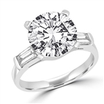 Prong Set Engagement Ring with Artificial Round Diamond and Baguettes by Diamond Essence set in Sterling Silver