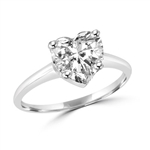 Platinum plated sterling silver ring with heart shape  stone