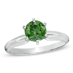 Diamond Essence Solitaire Ring With Emerald Round Brilliant stone, 2 Cts.T.W. In Platinum Plated Sterling Silver.
