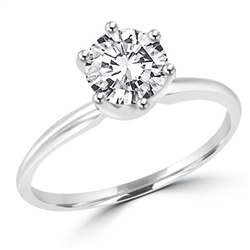 Platinum plated Solitaire sterling silver  ring with 3 ct stone