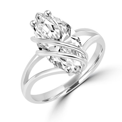 Dramatic and impressive for the times you want to be, 3 carat  Marquise cut Diamond Essence stone set in overlaping Platinum Plated Sterling Silver setting.