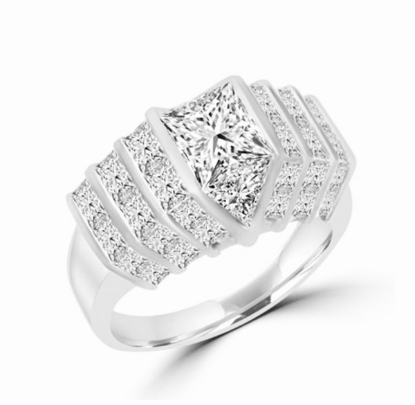 Platinum Plated Sterling Silver ring with 2.0 cts. center Octrillion stone flanked by round stones all the way down. 8.0 cts.t.w. (Image in Yellow but Product in Platinum Plated Sterling Silver.)