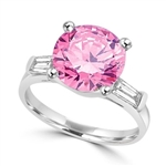 Diamond Essence  Pink stone of 3.5 cts. set in Platinum Plated Sterling Silver with baguettes on each side. 4.0 cts.t.w.