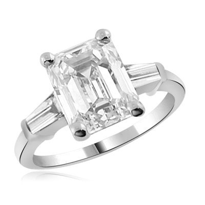 Emerald-cut with baguettes ring in sterling silver