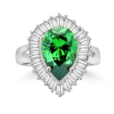 Ballerina Ring- 3.0 Carats Emerald Essence Pear surrounded by pirouetting smaller jewels. Will have them on their toes-and you calling the tune, 3.8 cts t.w. in Platinum Plated Sterling Silver.