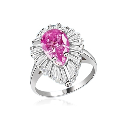 Ballerina Ring- 3.0 Cts Pink Pear silver ring