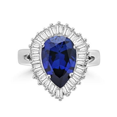 Ballerina Ring- 3.0 Carats Sapphire Essence Pear surrounded by pirouetting smaller jewels. Will have them on their toes-and you calling the tune, 3.8 cts t.w. in Platinum Plated Sterling Silver.