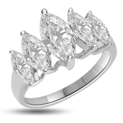 Diamond Essence Ring with 5 graduating Marquise Essence, appx. 2.5 Cts. T.W. set in Platinum Plated Sterling Silver.
