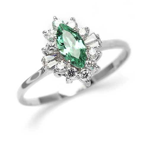 Honeysuckle Rose - 1 Ct. Marquise Cut Emerald Essence Center stone with Baguettes and Round Accent Masterpieces. 1.3 Cts. T.W. set in Platinum Plated Sterling Silver.