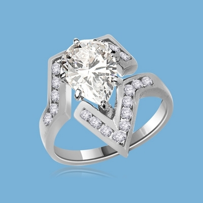 Lulu - Move Forward with  this superb Ring, 3.0 Carats in all, with 2.0 Carat Pear Cut Diamond Essence Center Stone and Melee Accents  set in Platinum Plated Sterling Silver.