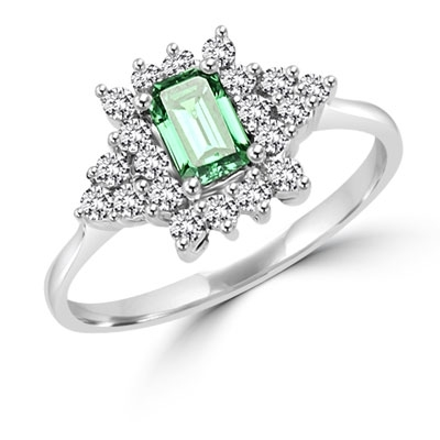 Green Eyes - Ring with Emerald Cut Emerald Essence center, and melee accents, in Platinum Plated Sterling Silver.
