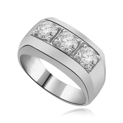 1.5ct round cut brilliant stones man's ring Platinum Plated Sterling Silver